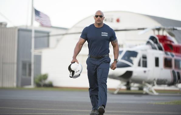 Picture frame, tattoo, glasses, hangar, t-shirt, helicopter, helmet, pilot, form, pants, Dwayne Johnson, Dwayne Johnson, San …