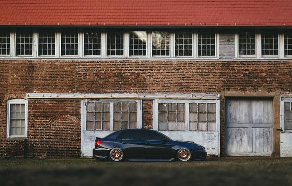 Picture the building, Subaru, hangar, wheel, WRX, side
