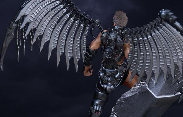 Picture rendering, background, back, angel, armor, guy, metal wings