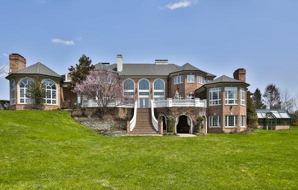 Picture design, house, Villa, ladder, architecture, mansion