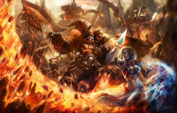 Picture girl, fire, magic, warrior, MAG, staff, World of Warcraft, battle, axe, wow, orcs