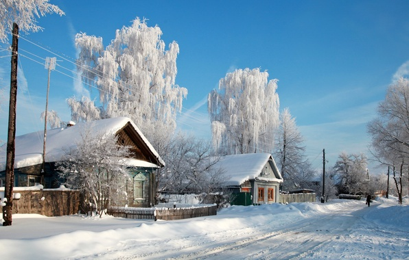 Picture snow, trees, nature, the city, photo, home, village, Russia