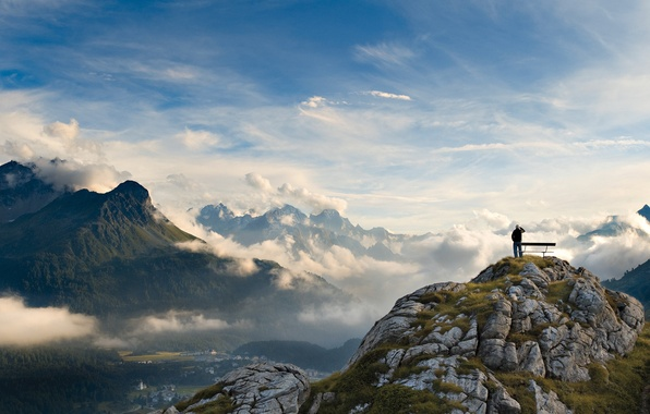 Picture the sky, clouds, trees, landscape, mountains, photo, Wallpaper, people, height, beauty, valley, panorama, delight