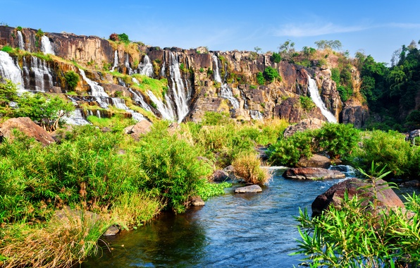 Picture greens, the sun, stones, rocks, waterfall, Vietnam, the bushes