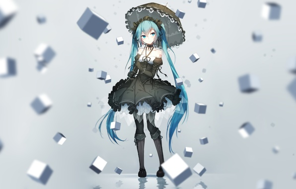 Picture girl, cubes, umbrella, anime, art, vocaloid, hatsune miku, bai yemeng
