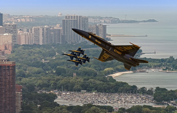Picture Chicago, aircraft, Blue Angels, Air and Water Show