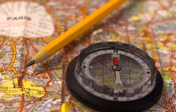 Picture map, blur, pencil, journey, compass, France, bokeh.