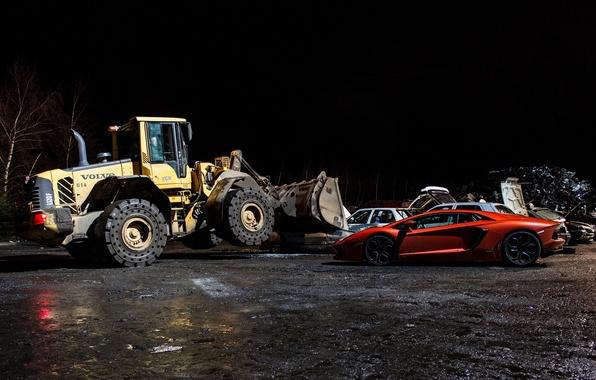 Picture night, orange, shadow, profile, lamborghini, bulldozer, orange, Volvo, aventador, lp700-4, Lamborghini, aventador