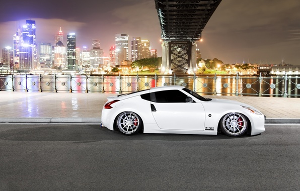 Picture night, the city, river, tuning, Nissan, stance, nissan 370z