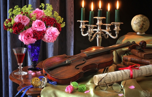 Picture notes, violin, watch, glass, books, roses, bouquet, candles, glasses, still life, globe
