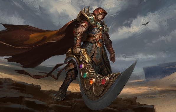 Picture the sky, look, rock, stones, weapons, fiction, bird, armor, warrior, art, cloak