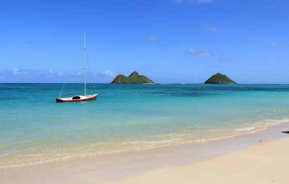 Picture sand, sea, the sky, the ocean, boat, island