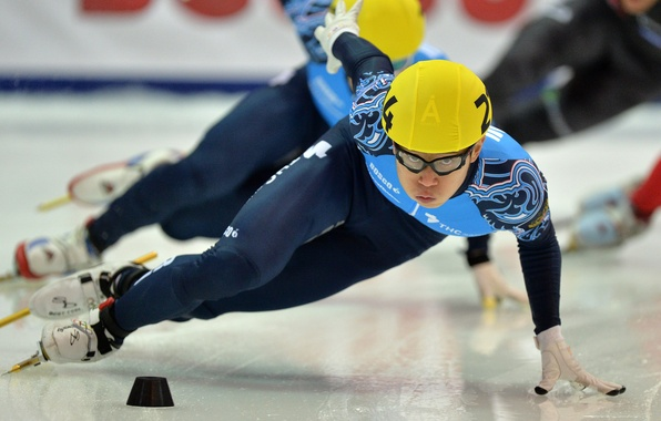 Picture look, race, speed, ice, turn, helmet, Russia, skates, RUSSIA, Sochi 2014, The XXII Winter Olympic …