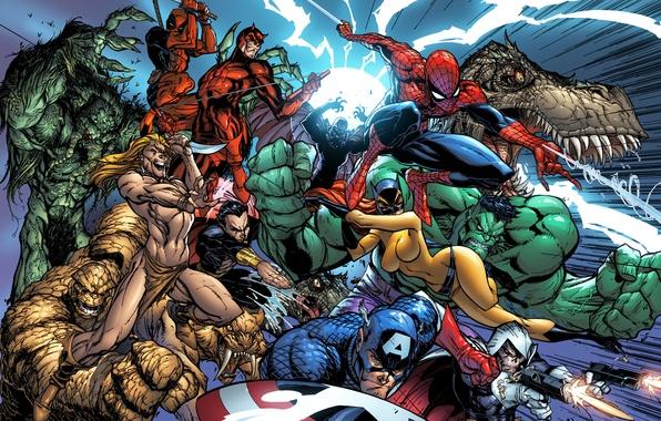 Picture Deadpool, Daredevil, hulk, Marvel Comics, Spider-Man, Peter Parker, Wade Wilson, fantastic four, Matthew Murdock, Thing, …