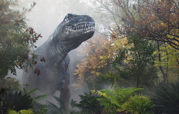 Picture autumn, forest, fog, dinosaur