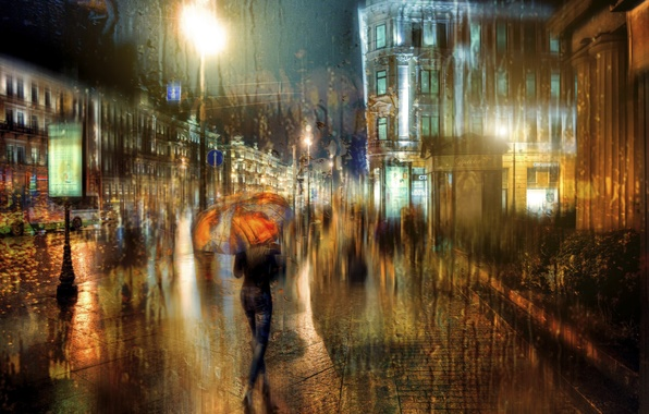 Picture girl, drops, umbrella, Saint Petersburg, the rain