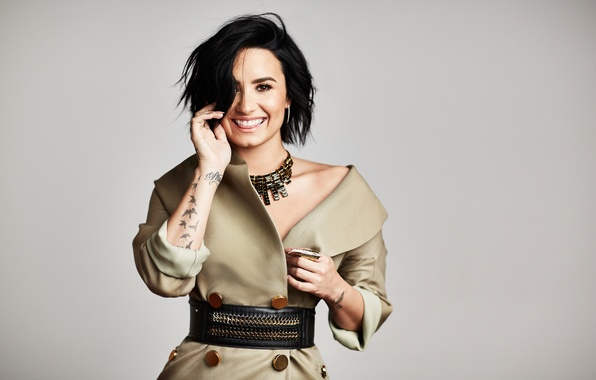 Picture smile, background, dress, brunette, hairstyle, photographer, singer, Demi Lovato, Demi Lovato, Mike Rosenthal, American Way