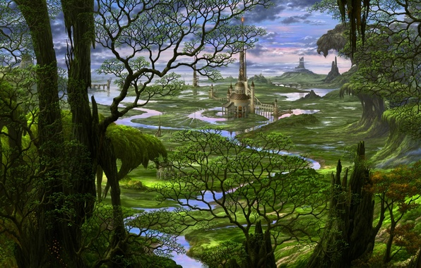 Wallpaper Forest Trees River Castle Tale Japan