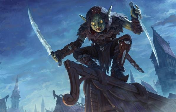 Picture roof, night, fantasy, art, dagger, Goblin, goblin assassin