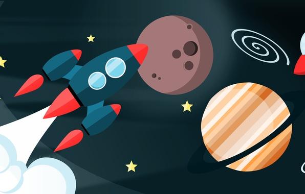 Picture space, flight, planet, vector, rocket