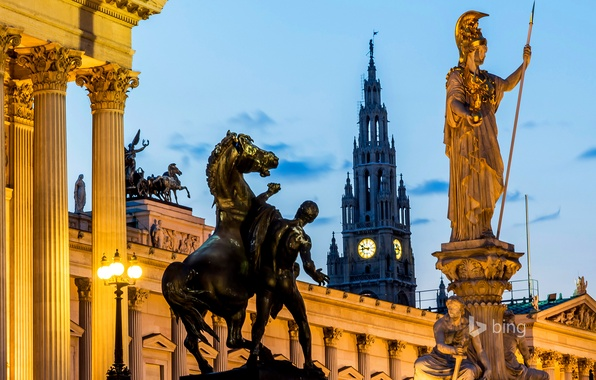 Picture tower, Austria, town hall, Parliament, Vienna, the statue of the goddess Pallas Athena