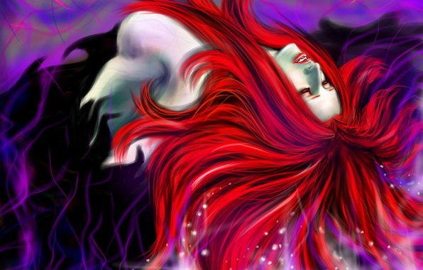 Picture look, art, red hair, Devil May Cry, vampire, Nevan