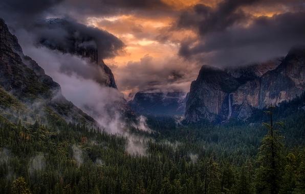 mountains waterfalls forest usa - photo #14