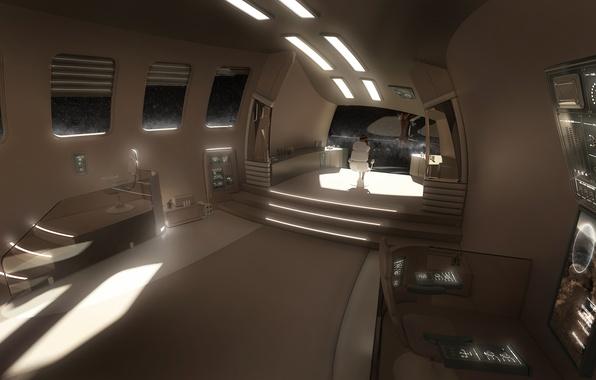 Picture girl, space, future, ship, interior, chair, art, cabin