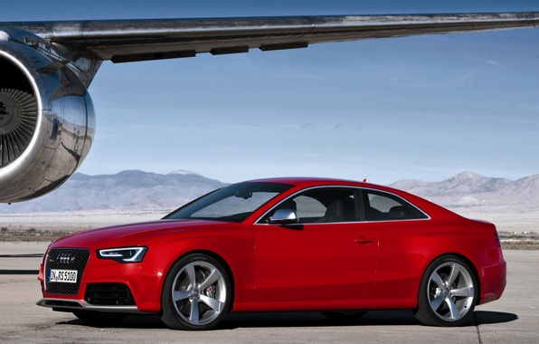 Picture the sky, mountains, Audi, audi, coupe, wing, turbine, the plane, coupe, rs5, PC5, presny.the front