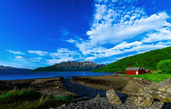 Picture forest, the sky, clouds, mountains, nature, lake, stones, home, house, Norway, norway