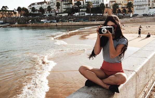 Picture beach, pose, actress, the camera, sitting, photographs, Vanessa Hudgens, Vanessa Hudgens