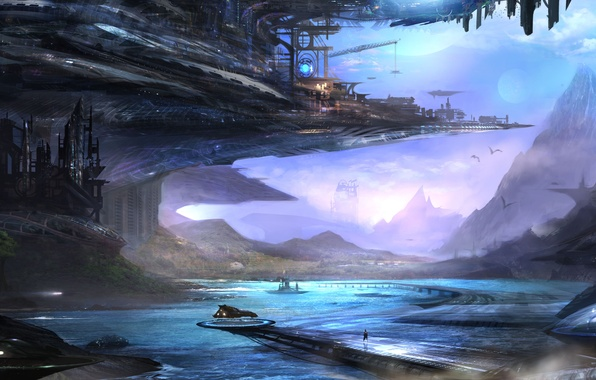 Picture mountains, the city, lake, fiction, transport, people, ships, art, fantasy world, Alex Ruiz