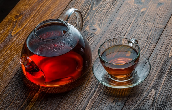 Picture glass, table, tea, kettle, Cup
