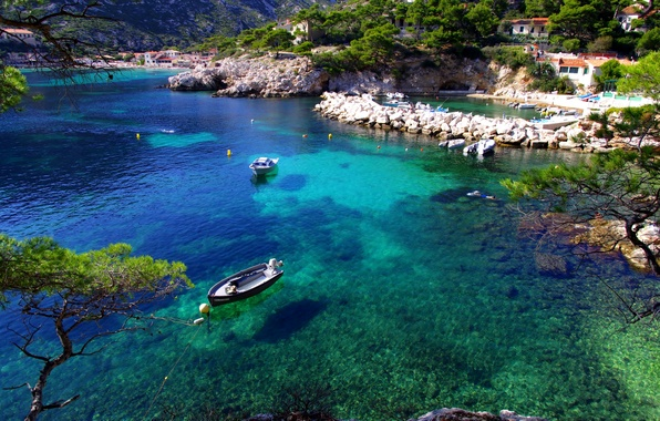 Picture sea, trees, stones, shore, France, boats, Marseille