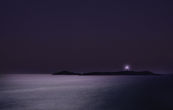 Picture sea, Islands, night, lighthouse