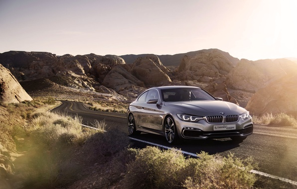 Picture Auto, Road, BMW, Desert, Machine, The concept, Grey, BMW, Silver, Blik, 4 serie