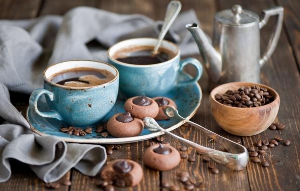 Photo wallpaper coffee, grain, kettle, cookies, Cup, set, chocolate, Anna Verdina