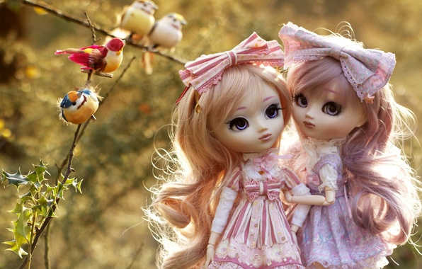 Picture birds, branches, girls, toys, doll, bokeh, dresses, bows