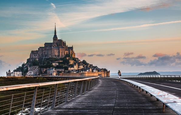 Photo wallpaper road, the monastery, Normandy, Mont-Saint-Michel