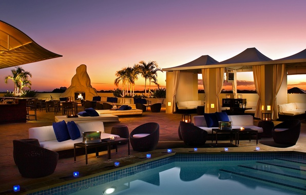 Picture palm trees, fire, stay, furniture, the evening, candles, pool, tables, cafe, evening, candles, outdoor furniture, …