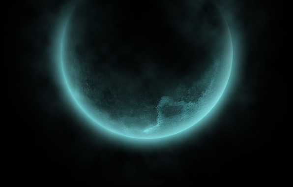 Picture space, black, glow, dal, Planet