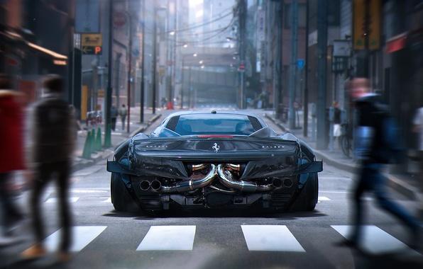 Picture City, Ferrari, 458, Grey, Tuning, Future, Italia, Rear, by Khyzyl Saleem
