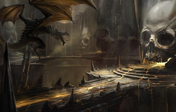 Picture bridge, dragon, skull, art, lava, cave