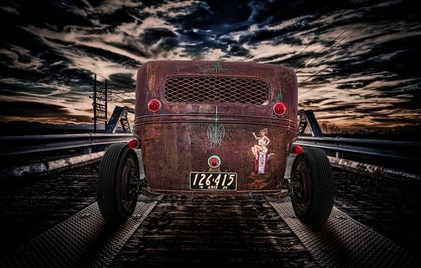 Picture the sky, bridge, retro, classic, rear view, hot-rod, classic car