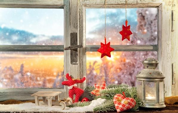 Picture decoration, window, lantern, decoration