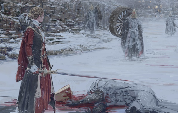 Picture winter, girl, snow, blood, sword, wheel, art, monsters, mask, shion, mirudakemann