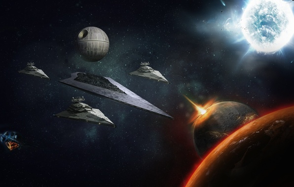 Photo wallpaper Destroyer, Death, Star, Moon, Space, Wars