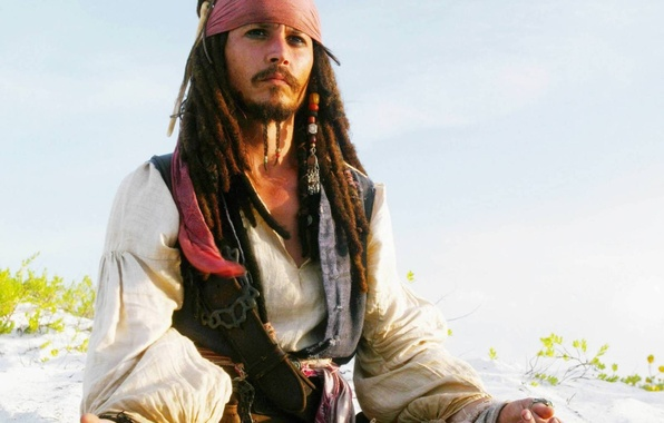 Picture Johnny Depp, Beach, Jack Sparrow, Pirates of the Caribbean