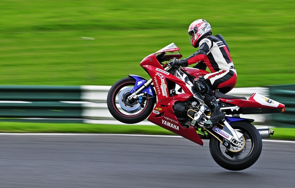 Picture road, grass, people, Moto, Sport, motorcycle, helmet, Yamaha, edit, Zobor, on the rear wheel