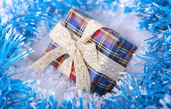 Picture macro, holiday, box, gift, new year, tape, new year, tinsel, bow, blue, blue, blue, packaging, …